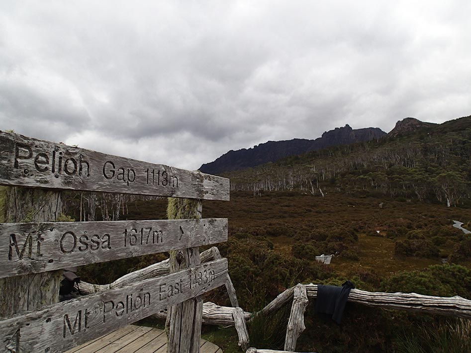 Signpost to Mt Ossa on the Overland track. Leave your pack here, but protect it from the crows!