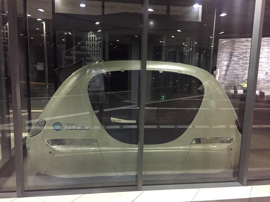 Hopping aboard a Personal Rapid Transit PRT) driverless pod in Masdar City
