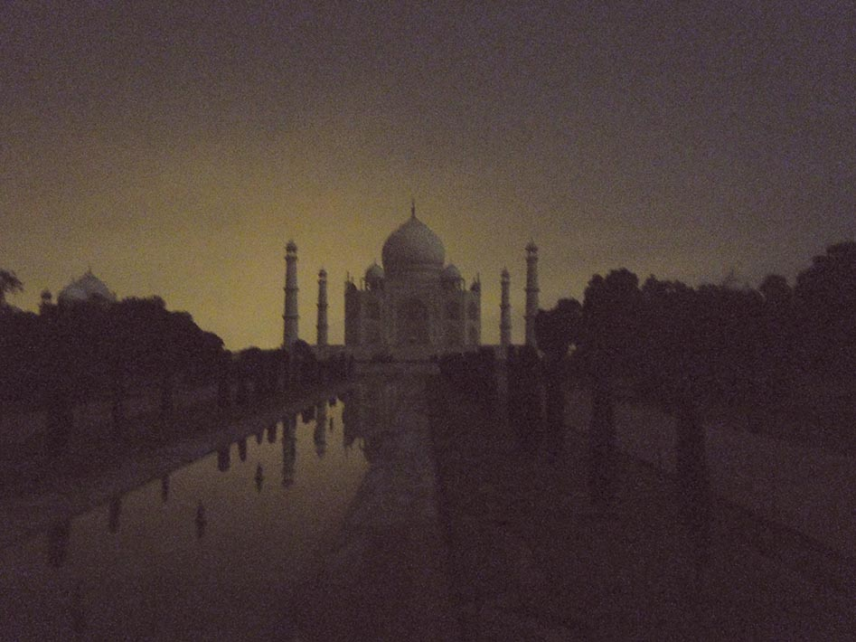 Taj Mahal By Night. Although in reality this view was only possible through a camera.