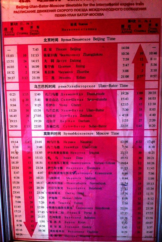 Trans Mongolian Timetable