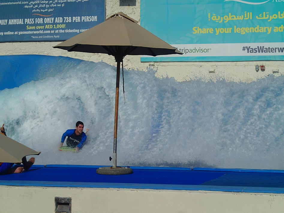 yas waterworld surfing