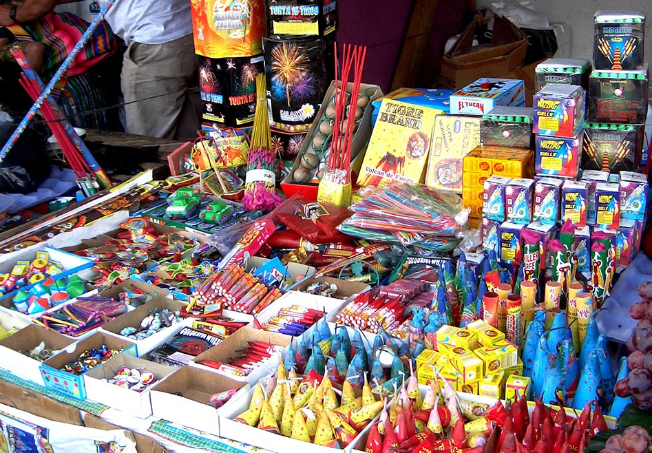 The vast array and quantity of Fireworks available in Antigua at Christmas time