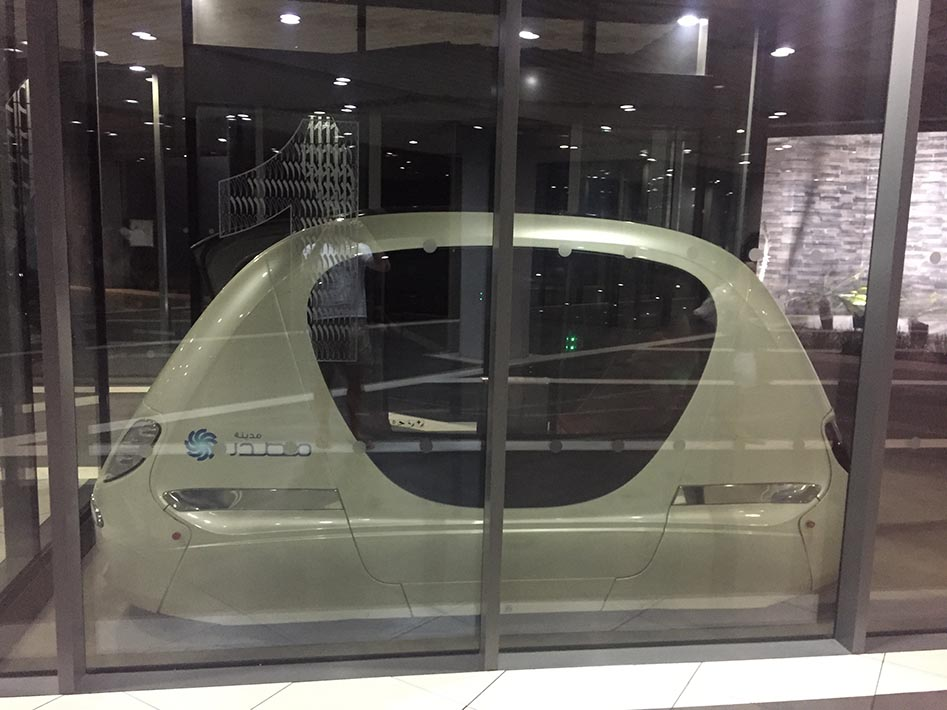 Hopping aboard a Personal Rapid Transit PRT) driverless pod in Masdar City