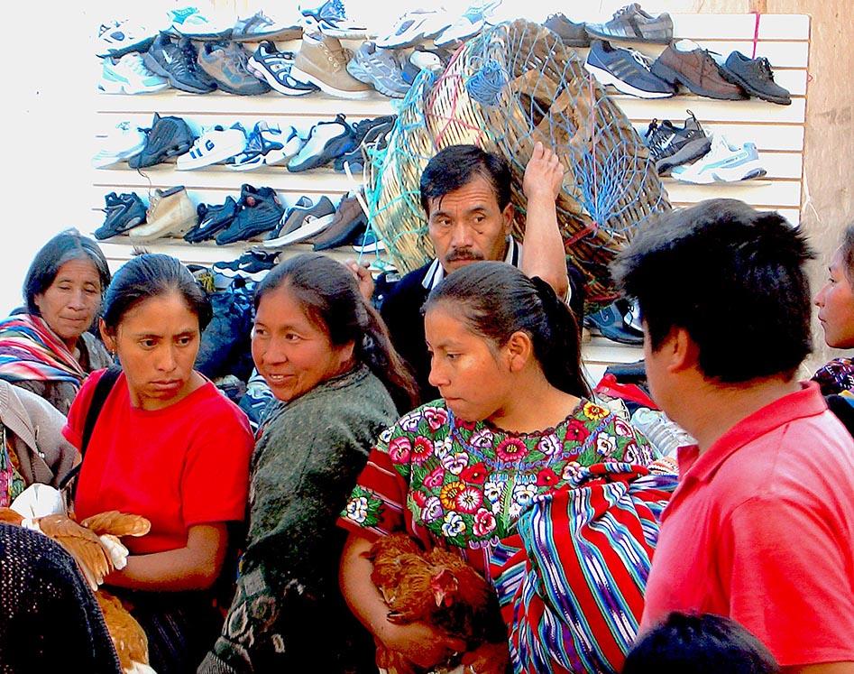 Exploring the live produce market in Chichicastenango.