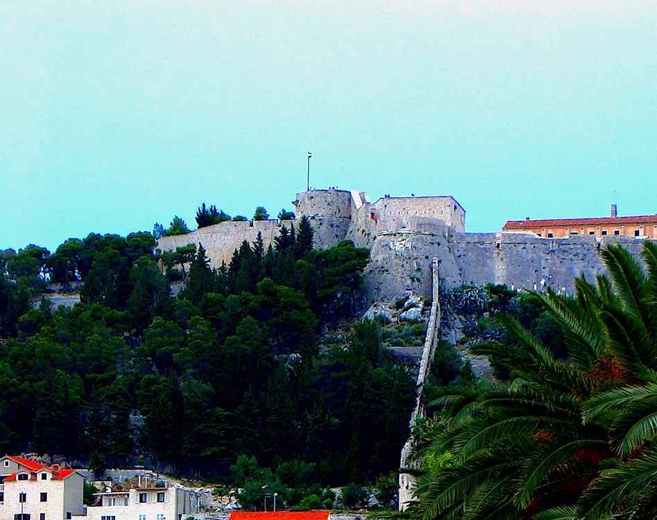 Hvar fortress, more accessible than the pricey marina