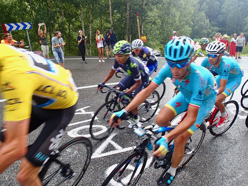 Peloton of Tour de France ascending Andorra Arcalis