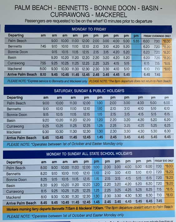 basins landing ferry schedule