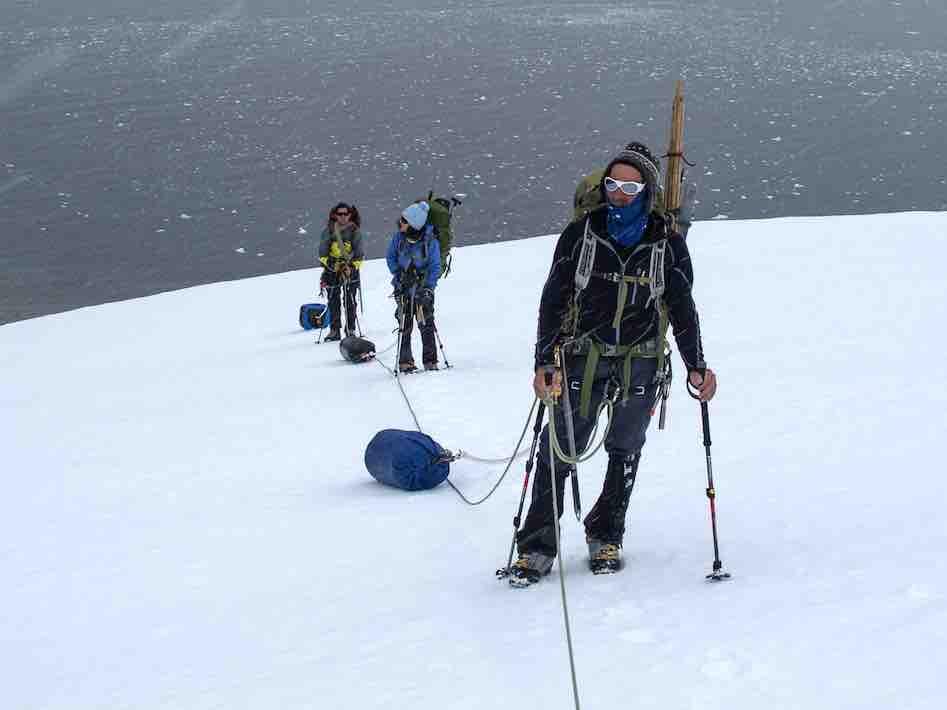 Hauling Sleds up Kershaw Peaks Antarctica