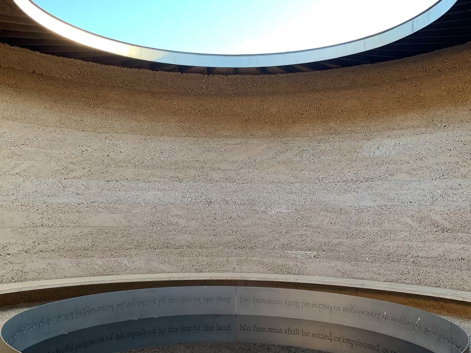 Inside the Writ on the water monument in Runnymede.