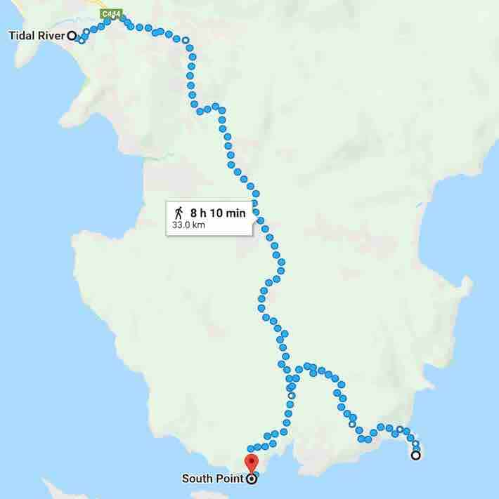 wilsons promontory south point trail run map